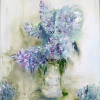 'Lilac Cuttings' Oil on canvas