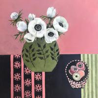 Nans cottons and anemones. Acrylic on board. 40cmx40cm.