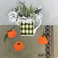 A touch of spring, snowdrops and clementines. Acrylic on board. 40cmx40cm.