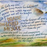 'Psalm 103', Watercolour, gouache and Gold Leaf on hot pressed watercolour paper