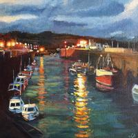 'Padstow harbour' Acrylic on canvas