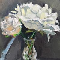 White Peony and rose in crystal vase. Oil on Canvas. 25cm x 30cm
