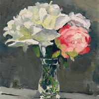White Peonies and Roses. Oil on Canvas. 25cm x 30cm