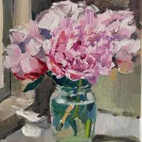 Pink Peonies in Mustard Pot. Oil on Canvas. 25cm x 30cm