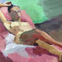 Pink Reclining Nude. Oil on Canvas 25cm x 30cm