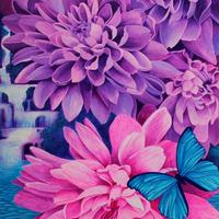 'Suspended in Paradise' Botanical artwork of dahlias and blue butterfly painted using gouache.