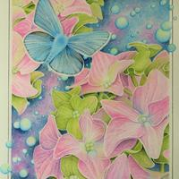 'Blue Passage' Botanical artwork of hydrangea and blue butterfly painted using watercolour and gouache.