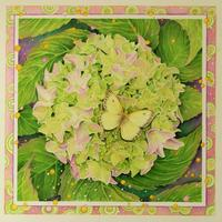 'Cosmic Gardener' Botanical artwork of hydrangea and yellow butterfly mixed media panting.