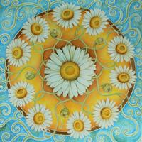 'Daisy Chain' Floral mandala artwork of daisies painted with watercolour and coloured pencil.