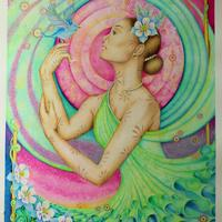 'Mystic Meadow' Figurative Fantasy art painting in art nouveau style, mixed media painting.