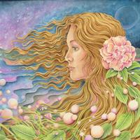 'Through The Mists of Time' Fantasy art portrait painted using gouache.