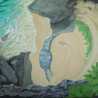 'Life on The Edge' Aerial view of coastal life painted using gouache.