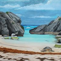 'Turtle Bay' A sea turtle rests in a beach cove. Painted with gouache.