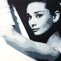Audrey Hepburn: Acrylic on box canvas, 76cm x 50cm, Price £300