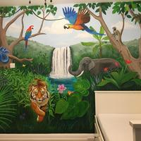 Jungle Bedroom - Jungle mural on a child's bedroom wall.