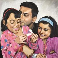 My Girls - Family portrait, acrylic and canvas.