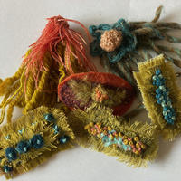 Brooches: Various hand sewn brooches, silk, wool, linen threads