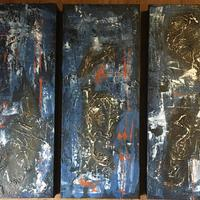 Triptych in Blue: acrylic mixed media on canvas