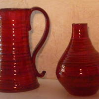 RED JUG AND VASE  TERRACOTTA CLAY