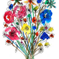 Bouquet - mounted watercolour and ink giclee print aprox 25cm by 30cm £25