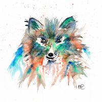 Fox - mounted watercolour and ink giclee print aprox 28cm by 38cm £25