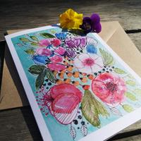 I have a range of cards available from my work - Florals - watercolour and ink printed onto textured card £2.50 each or 5 for £10