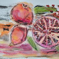 Pomegranates - mixed media original. £75 framed