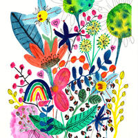 Rainbow Flowers - mounted watercolour and ink giclee print aprox 25 by 30cm £25
