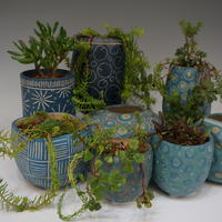 Selection of blue pots and planters