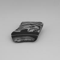 Aneto and onyx porcelain brooch with silver wire and safety pin catch.