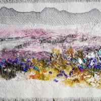 Abstract Landscape with hand Painting, Free-Motion and Hand Embroidery.. A moment in Time.