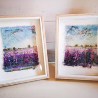 Framed Confetti Fields Free-Motion and Hand embroidery.