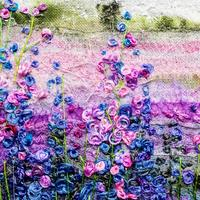 Confetti Fields. Free-Motion and Hand Embroidery Textile Art.