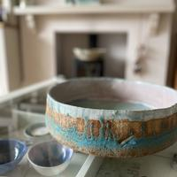 Large stoneware rock pools bowl inlaid with glass
