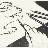 Portrait of the artist with five fingers.