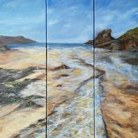 3 panel canvas Acrylic Painting Trevone Cornwall £190
