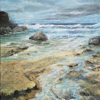 Textures Sands Acrylic painting of St Agnus Cornwall. 76x50cm stretched canvas £320