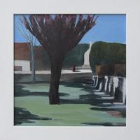 Sunshine on the village green in early Spring - acrylic