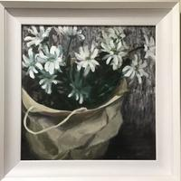 Paper carrier with Chrysanthemums - oil on canvas board