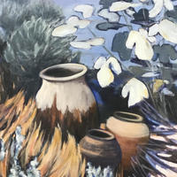 Pots in  Andalusian garden - acrylic on canvas