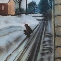 Pastel Drawing : Photographing Snow
