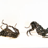 Annealed wire Whippets playing 17cm long £95.00 each   .    Larger sizes can be commisioned