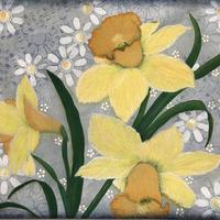Daffodils & Daisies - painted with Acrylics over a Mixed-media background on canvas