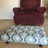 Footstool made to order with designer fabric.