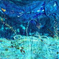 Seascape Underworld.  Felted and mixed media.  This is part of my self exploration from my personal experiences from diving and scuba diving when abroad.  A whole world exists under water that few have seen and experienced.  A place of fantasy and mystical creatures.