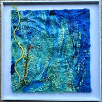 Diving II. Felted mixed media artwork which is part of a series.