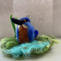 Kingfisher.  Part of a series of 3d wild animals and birds felted in their natural habitat.