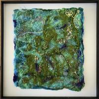 Deep Sea.  Felted mixed media artwork, including merino wool felting, silver, copper wire, embroidery.  This is part of my theme of diving from my own experiences.