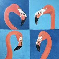 "Flamingoes - oil - 23 1/2"" x 23 1/2""  £285"