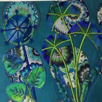 Blue and green flowers machine embroidered £90